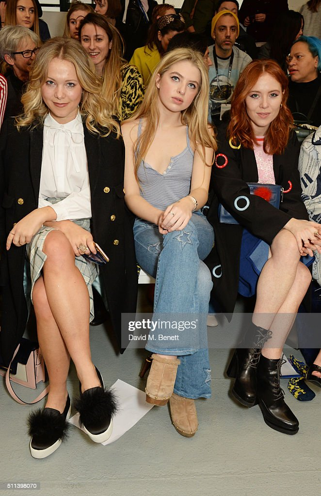 Poppy Jamie Anais Gallagher and Angela Scanlon attend the SIBLING show during London Fashion Week Autumn/Winter 2016/17 at Brewer Street Car Park on...