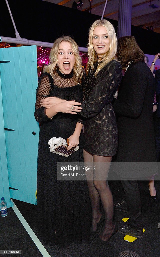 Poppy Jamie (L) and Lily Donaldson at The Naked Heart Foundation's Fabulous Fund Fair in London at Old Billingsgate Market on February 20, 2016 in London, England.