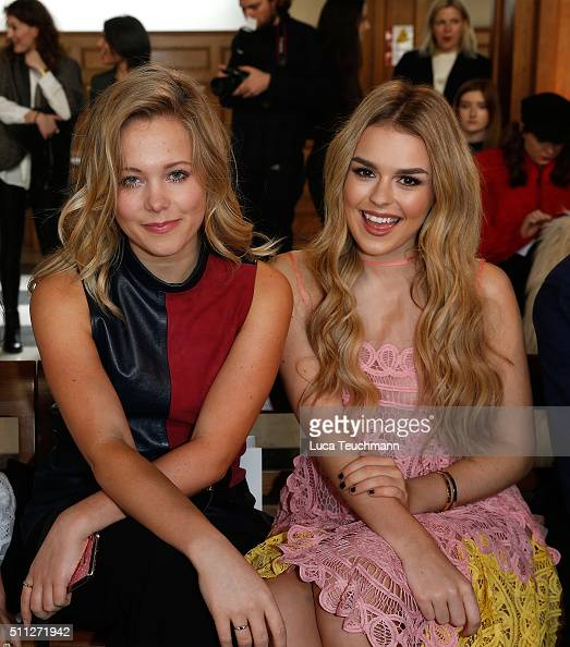 Poppy Jamie and Tallia Storm attend the Bora Aksu show during London Fashion Week Autumn/Winter 2016/17 at on February 19 2016 in London England