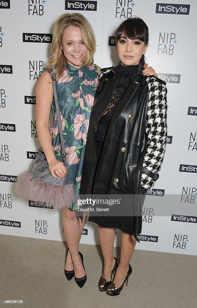 Poppy Jamie and Zara Martin attend the NIPFAB InStyle Tea Party at The London Edition Hotel on March 14 2015 in London England