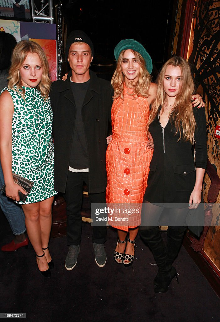Poppy Jamie guest Suki Waterhouse and Immy Waterhouse attend the Love Magazine miu miu London Fashion Week party at Loulou's on September 21 2015 in...