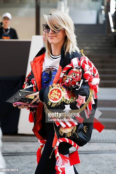 Poppy Lissiman wearing PE Nation arrives ahead of the PE Nation show at MercedesBenz Fashion Week Resort 17 Collections at Carriageworks on May 19...