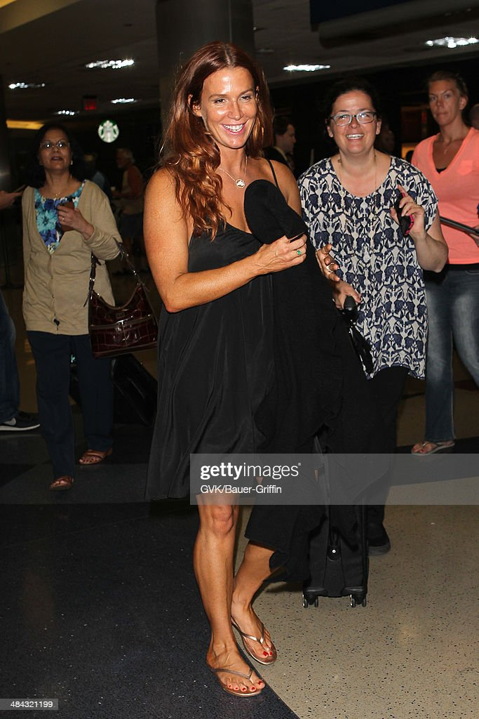 Poppy Montgomery seen at LAX on April 11, 2014 in Los Angeles, California.