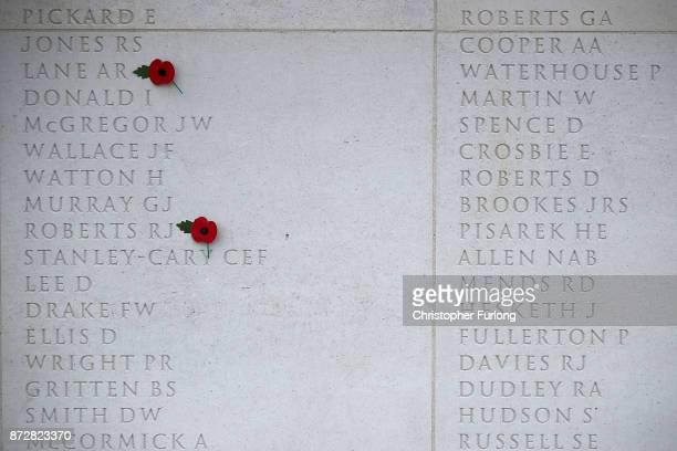 Poppys are placed next to the names of the fallen during the annual Armistice Day Service at The National Memorial Arboretum on November 11 2017 in...