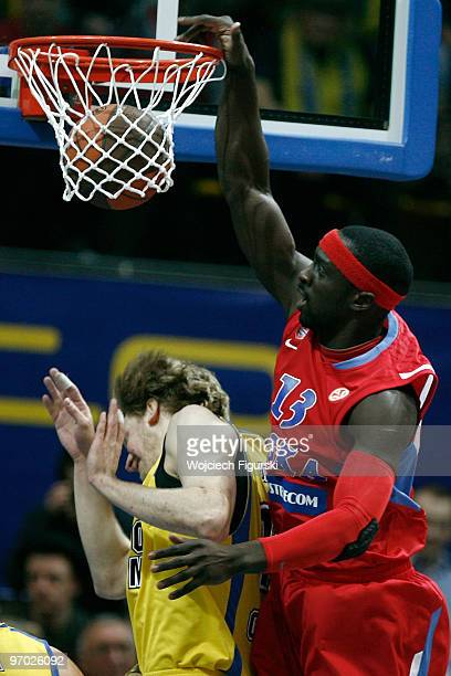 Pops MensahBonsu #13 of CSKA Moscow in action during the Euroleague Basketball 20092010 Last 16 Game 4 between Asseco Prokom Gdynia vs CSKA Moscow at...