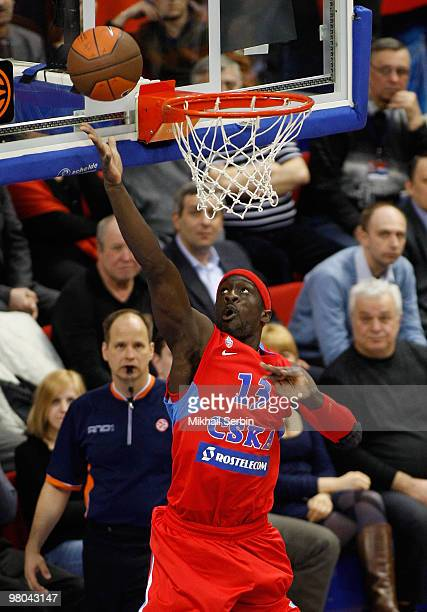 Pops MensahBonsu of CSKA Moscow in action during the Euroleague Basketball 20092010 Play Off Game 2 between CSKA Moscow vs Caja Laboral at Universal...