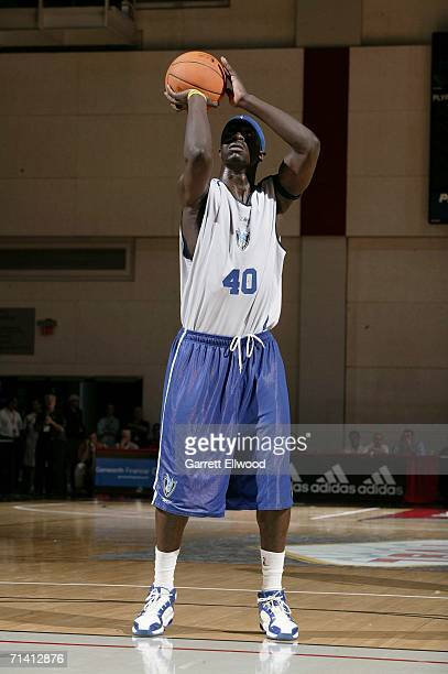 Pops MensahBonsu of the Dallas Mavericks shoots a free throw against the Houston Rockets during the 2006 Toshiba Vegas Summer League July 10 2006 at...