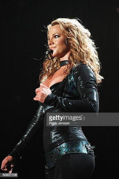 Popstar Britney Spears performs on stage during her 2004 'Onyx Hotel Tour' at Globe Arena on May 11 2004 in Stockholm Sweden