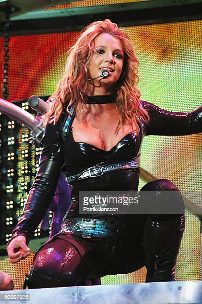 Popstar Britney Spears performs on stage during her 2004 'Onyx Hotel Tour' at Globe Arena on May 11 2004 in Stockholm Sweden A publicist for Britney...