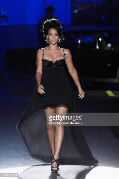Popstar/RB singer Rihanna walks down the catwalk during the Dsquared2 Spring/ Summer 2008 collection part of Milan Fashion Week on September 27 2007...