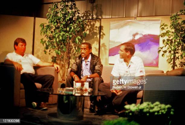 Popular American entertainer Sammy Davis Jr is interviewed during at the Canon Sammy Davis Jr Greater Hartford Open golf tournament Cromwell...
