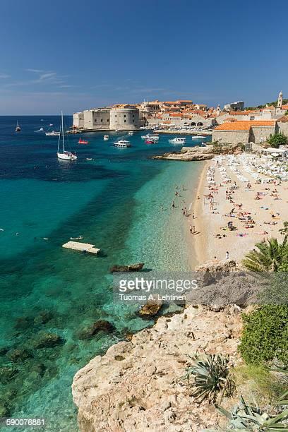 Popular Banje beach in Dubrovnik
