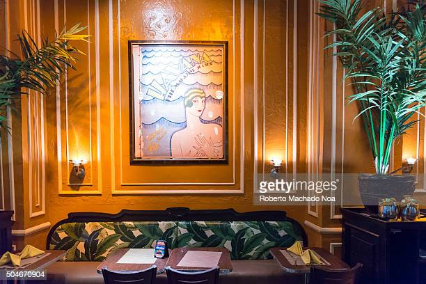 Popular Cuban restaurant in Times Square interior details Amid the variety of business in the tourist landmark the Cuban themed restaurant in Times...