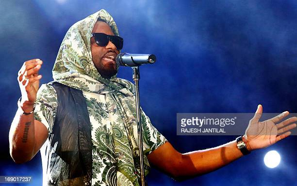 Popular Democratic Republic of Congo singer and artist Fally Ipupa performs on stage during the inaugural MTV All Africa Stars Concert held at the...
