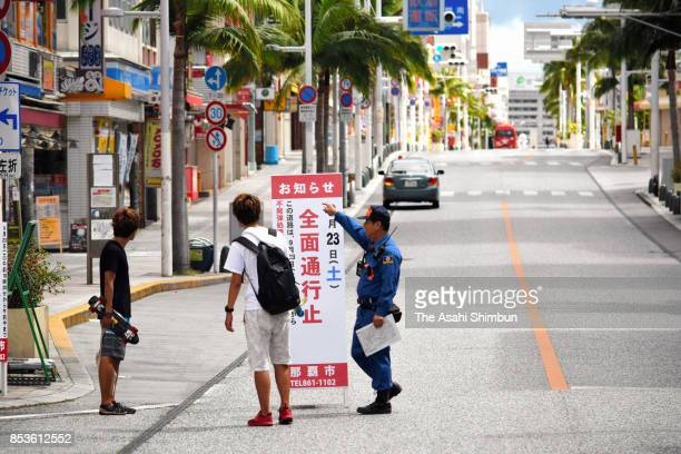 A popular Kokusai Dori street is evacuated for removing a defused US bomb on September 23 2017 in Naha Okinawa Japan A renowned tourist destination...