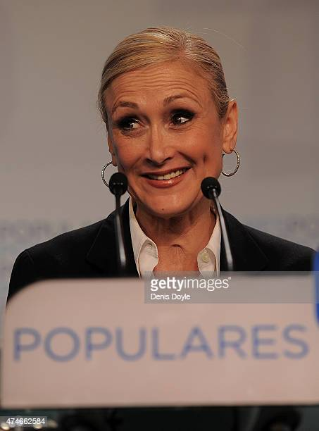 Popular Party candidate for President Cristina Cifuentes of the regional government of Madrid speaks at news conference at party headquarters after...