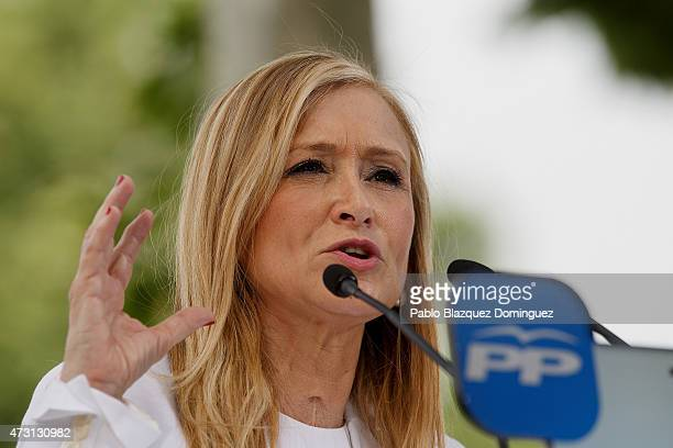 Popular Party candidate for president of Madrid Community Cristina Cifuentes speaks to members of the public during an election campaign rally at...