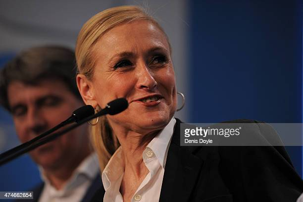Popular Party candidate for President of the regional government of Madrid Cristina Cifuentes speaks at news conference at party headquarters after...