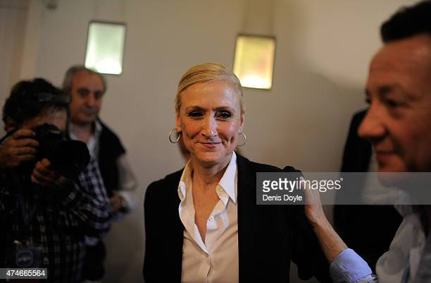 Popular Party candidate for President of the regional government of Madrid Cristina Cifuentes leaves a news conference at party headquarters after...