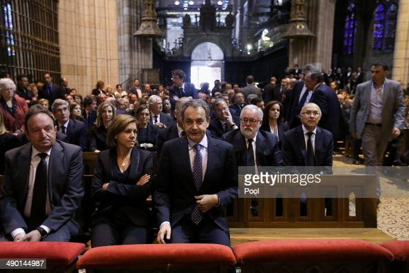 Popular Party General Secretary Maria Dolores de Cospedal Former Spanish Prime Minister Jose Luis Zapatero and Popular Party's candidate for the...