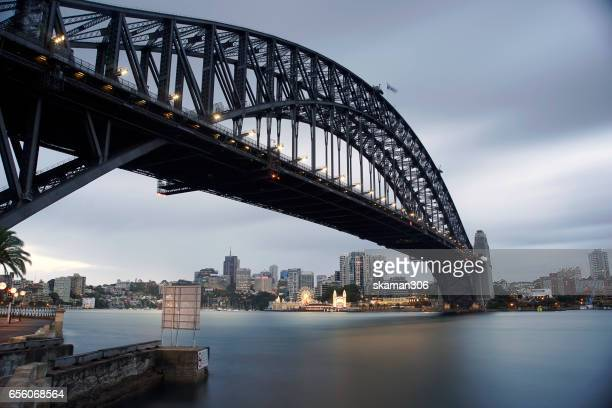 popular place sydney harbor bridge in the night landscape