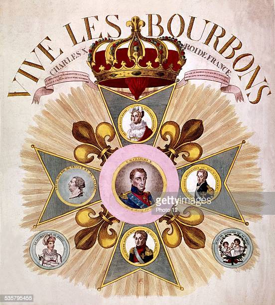 Popular print medallions representing the Bourbon dynasty with the portrait of King Charles X of France 19th century France Paris Bibliothèque...