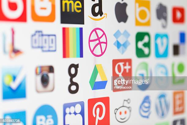 Popular social media and technology icons