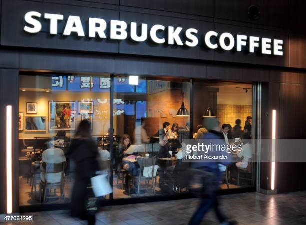 A popular Starbucks Coffee shop in Tokyo's trendy Shibuya district