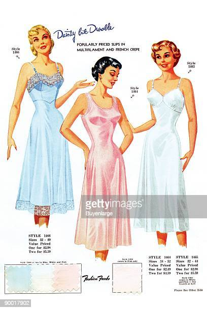 Popularly priced slips in multifiiament and French crepe Fashion plates of the latest styles complete with sample fabric from a book sent only to...