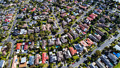Aerial shot of  houses in the outer suburbs of Melbourne.