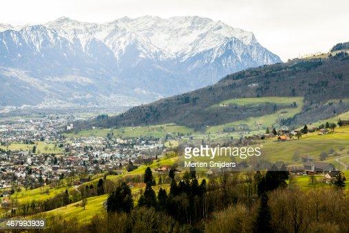 Populated valley before Vaduz : Stock Photo
