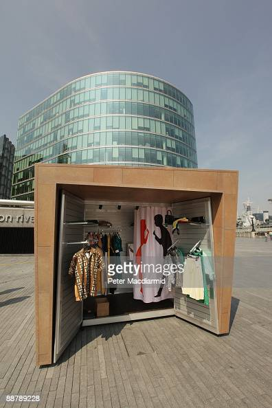 A 'popupshop' is displayed near City Hall on July 2 2009 in London England The 'KioskKiosk' portable shop design will provide rent free retail space...