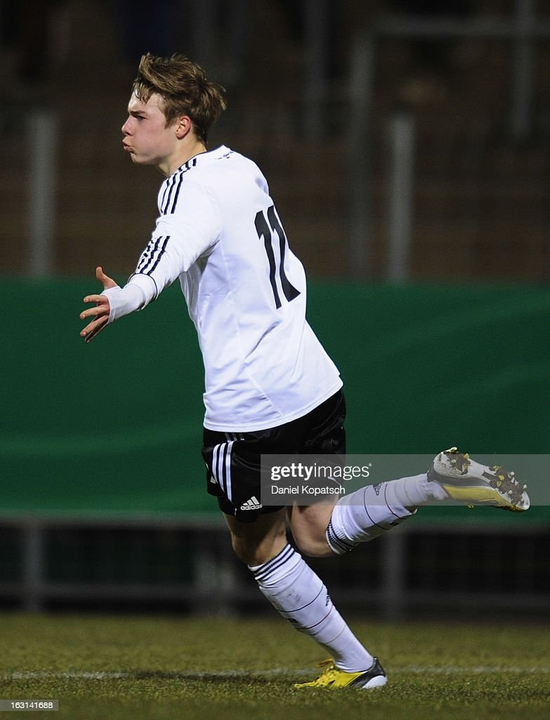 Porath Finn of Germany celebrates his team's first goal during the U16 international friendly match between Germany and Italy on March 5, 2013 at Waldstadion in Homburg, Germany.