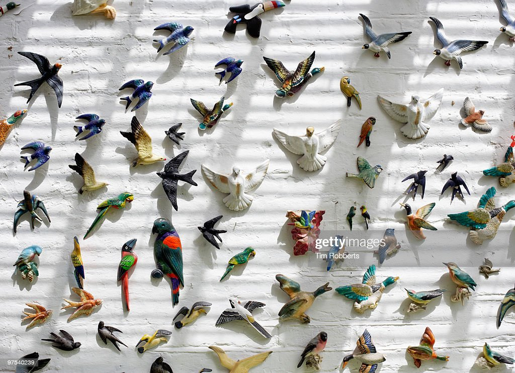 Porcelain birds arranged on wall : Stock Photo