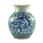 a traditional chinese porcelain with in blue colored