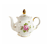 Ceramic teapot with ornament of roses and gold in classic style isolated on white
