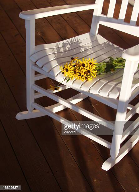 porch rocker and flowers