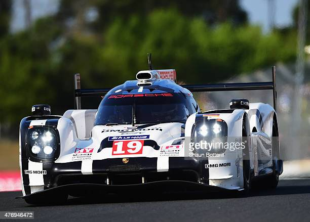 Porche Team driven by Nico Hulkenberg Earl Bamber and Nick Tandy during warmup for the Le Mans 24 Hour race at the Circuit de la Sarthe on June 13...
