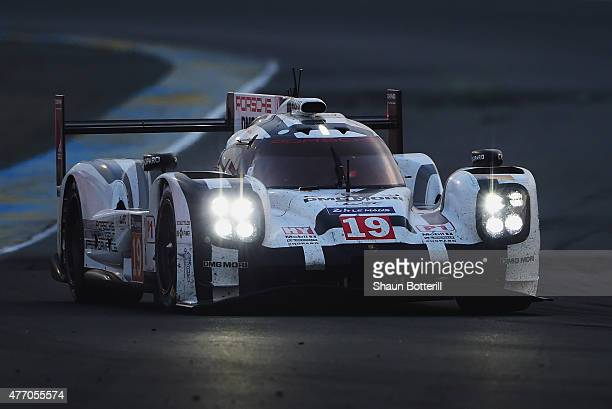 Porche Team driven by Nico Hulkenberg Earl Bamber and Nick Tandy during the Le Mans 24 Hour race at the Circuit de la Sarthe on June 13 2015 in Le...