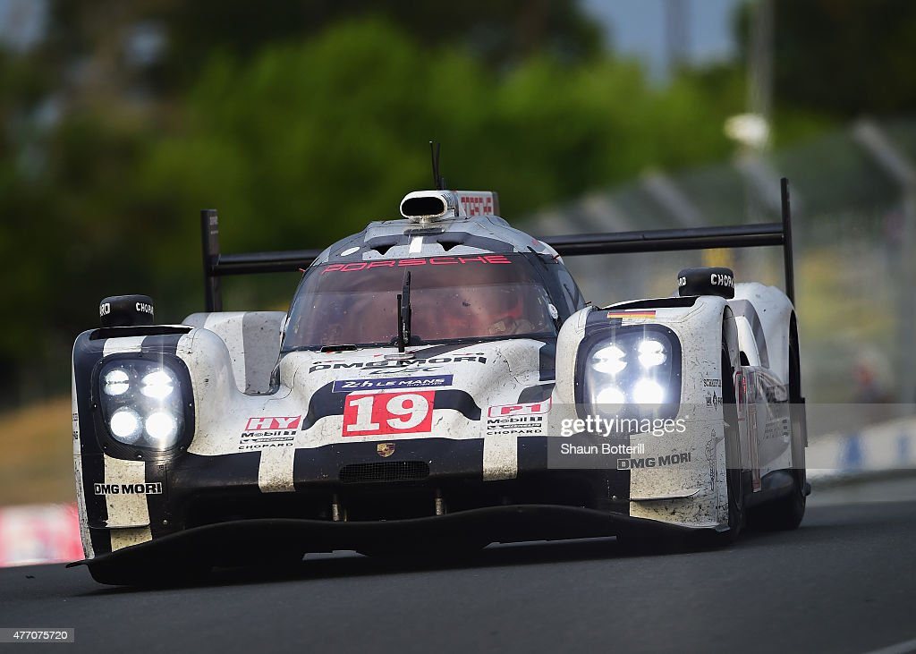 Porche Team driven by Nico Hulkenberg Earl Bamber and Nick Tandy during the Le Mans 24 Hour race at the Circuit de la Sarthe on June 14 2015 in Le...