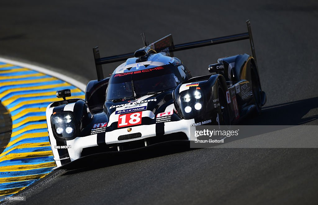 Porche Team driven by <a gi-track='captionPersonalityLinkClicked' href=/galleries/search?phrase=Romain+Dumas&family=editorial&specificpeople=805197 ng-click='$event.stopPropagation()'>Romain Dumas</a>, <a gi-track='captionPersonalityLinkClicked' href=/galleries/search?phrase=Neel+Jani&family=editorial&specificpeople=541892 ng-click='$event.stopPropagation()'>Neel Jani</a> and <a gi-track='captionPersonalityLinkClicked' href=/galleries/search?phrase=Marc+Lieb&family=editorial&specificpeople=3199675 ng-click='$event.stopPropagation()'>Marc Lieb</a> during warm-up for the Le Mans 24 Hour race at the Circuit de la Sarthe on June 13, 2015 in Le Mans, France.