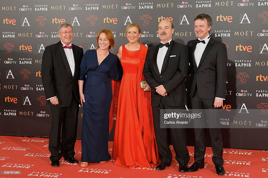 Porfirio Enriquez, Gracia Querejeta, Cristina Cifuentes, Antonio Resines and Edmon Roch attend the Goya Cinema Awards 2016 at Madrid Marriott Auditorium on February 6, 2016 in Madrid, Spain.
