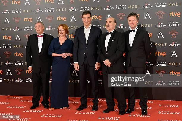 Porfirio Enriquez Gracia Querejeta Pedro Sanchez Antonio Resines and Edmon Roch attend the Goya Cinema Awards 2016 at Madrid Marriott Auditorium on...
