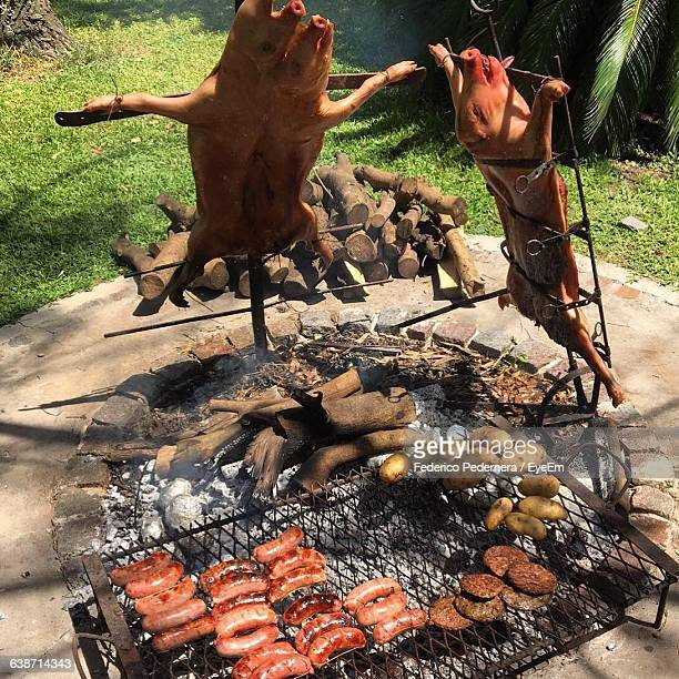 Pork And Potatoes On Barbecue