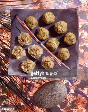 Pork and shrimp balls and wonton blossoms : Stock Photo