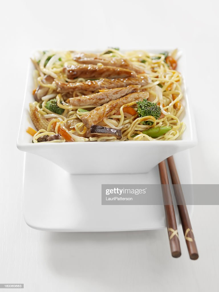 Pork and Vegetable Stirfry with Noodles : Stock Photo