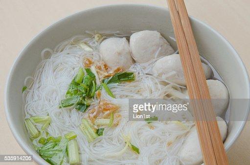 Pork ball Noodles : Stock Photo
