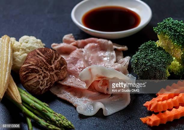 Pork belly and vegetable set