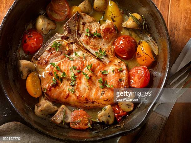Pork Chops with Tomatoes and Mushrooms