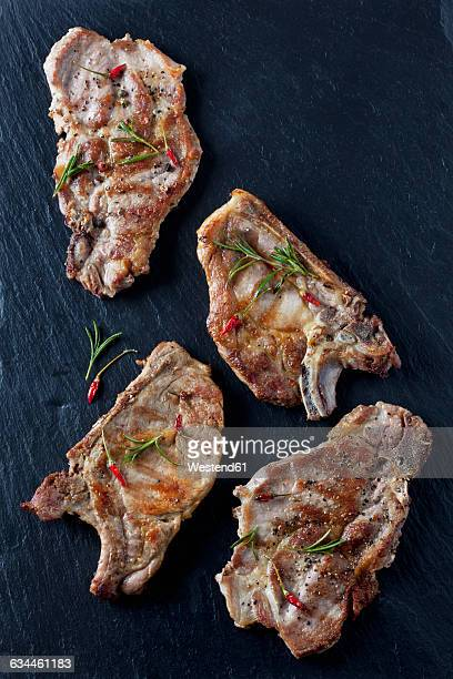 Pork collar cutlets with herbs and spices